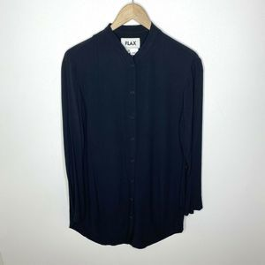 FLAX 100% Rayon Button Up Long Sleeve Tunic Blouse